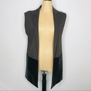 Lafayette 148 New York Faux Leather Open Vest